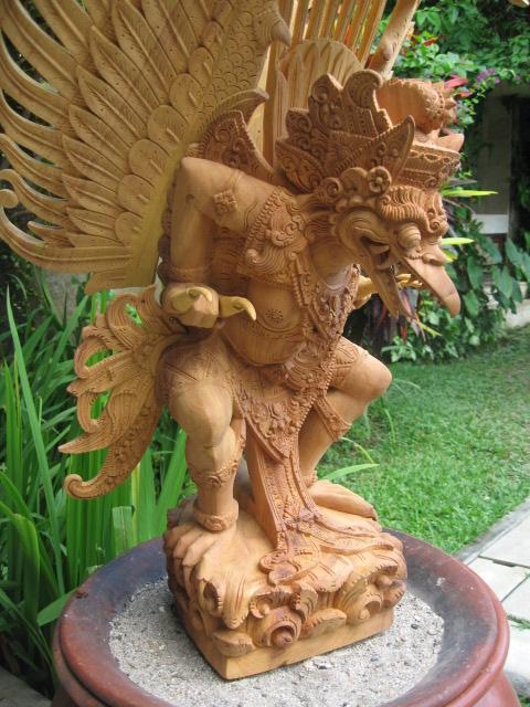 Hand Carved Jackfruit Wood Garuda
