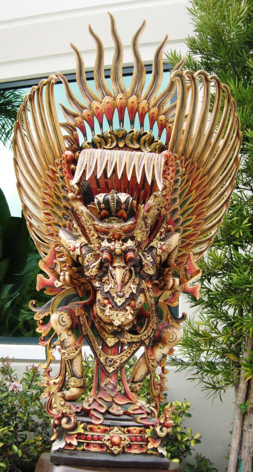 Large Hand Carved Multi Color Garuda