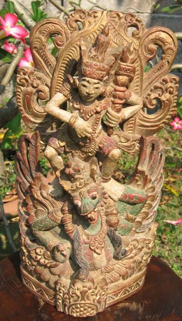 Antique Hand Carved Vishnu On Garuda Statue From Bali
