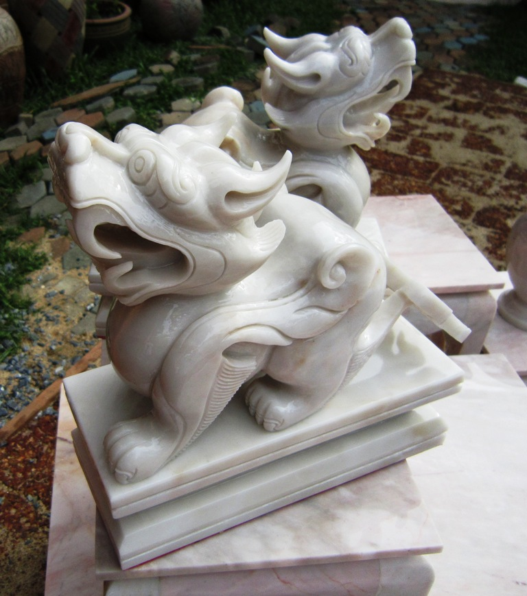 Pair of Hand Carved White Marble Pee Sia