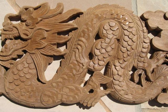Hand carved natural teak wood dragon panel