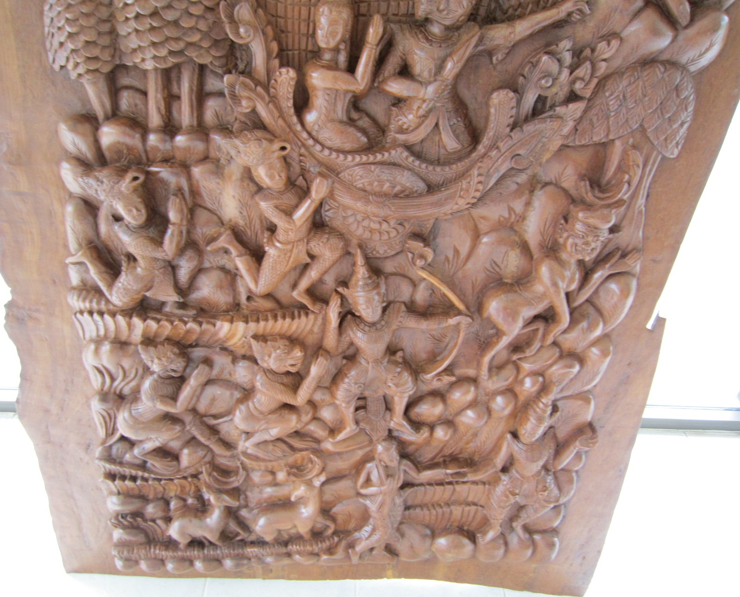 Hand carved ramayana story in solid teak