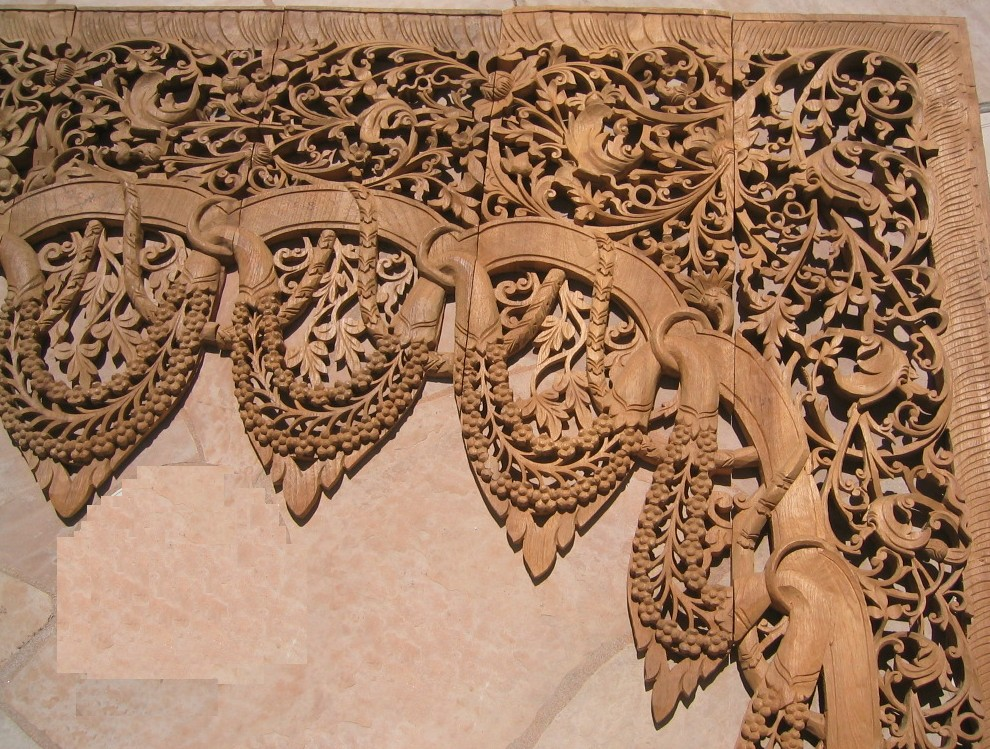 10 Ft Hand Carved Teak Wood Arch Doorway Panel