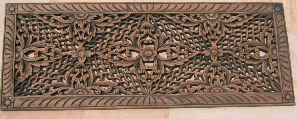 1'x3' Floral Teak Wood Panel ... - Teak Wood Panels/ Hand Carved Teak Wood Panels / Teak Panels