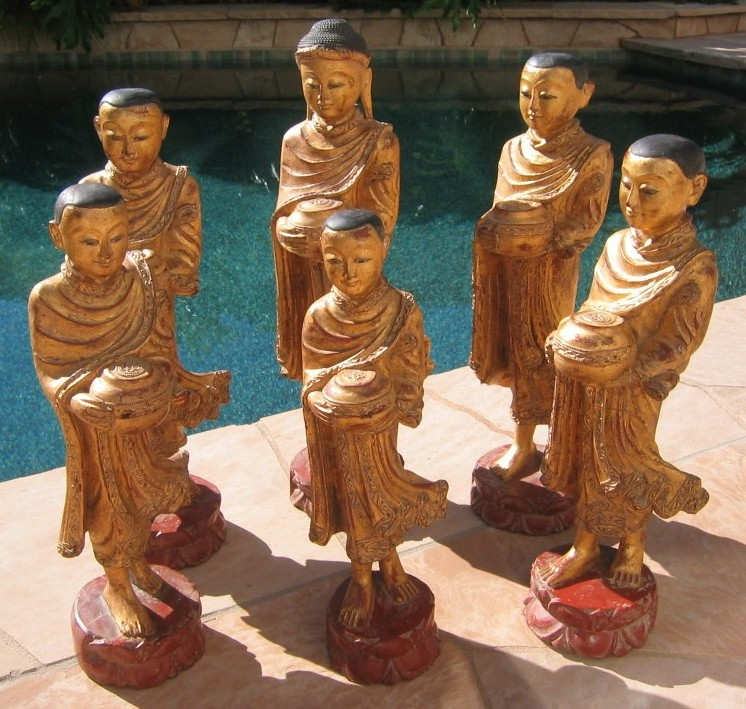 Teak Wood Buddha & Disciples Set