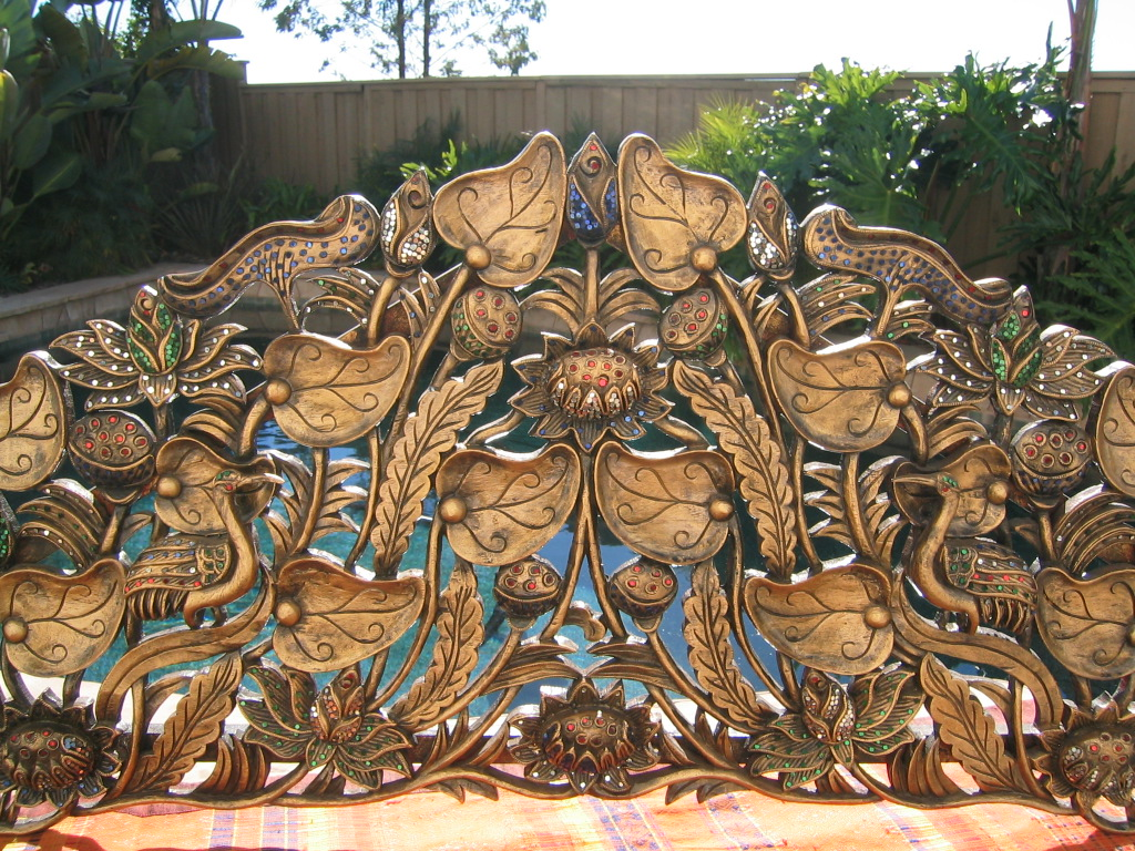 Lotus and Peacock Headboard