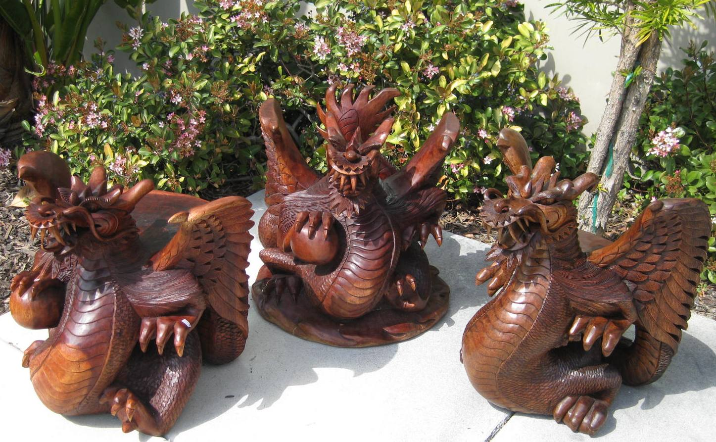 Set Of Hand Carved Dragon Table Amp Stools From Bali