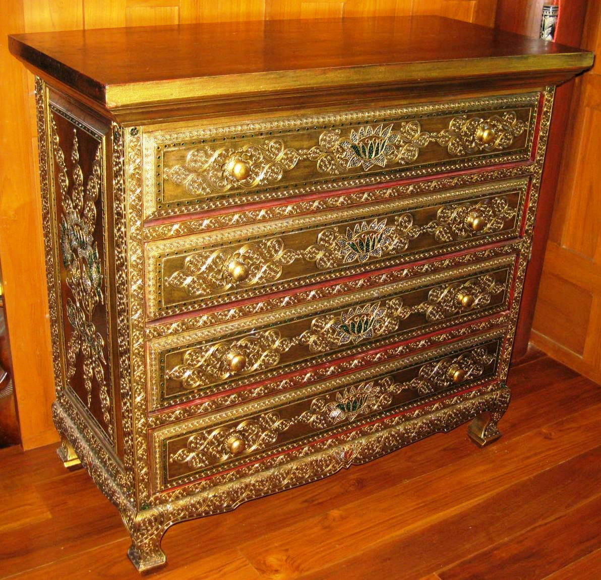 Hand carved lotus and vines antique gold chest drawers for Thai furniture