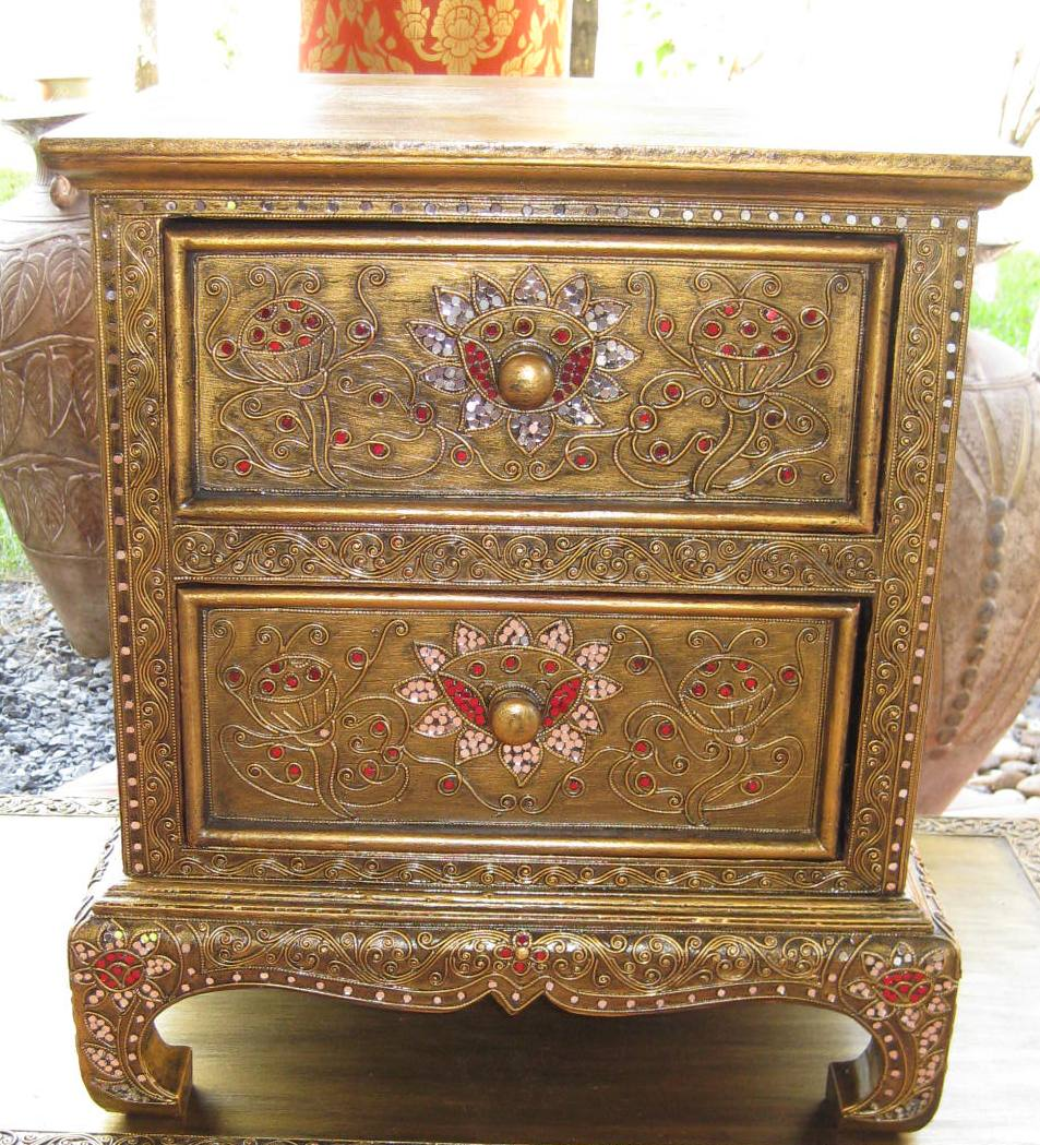 lotus and vines golden antique night stand