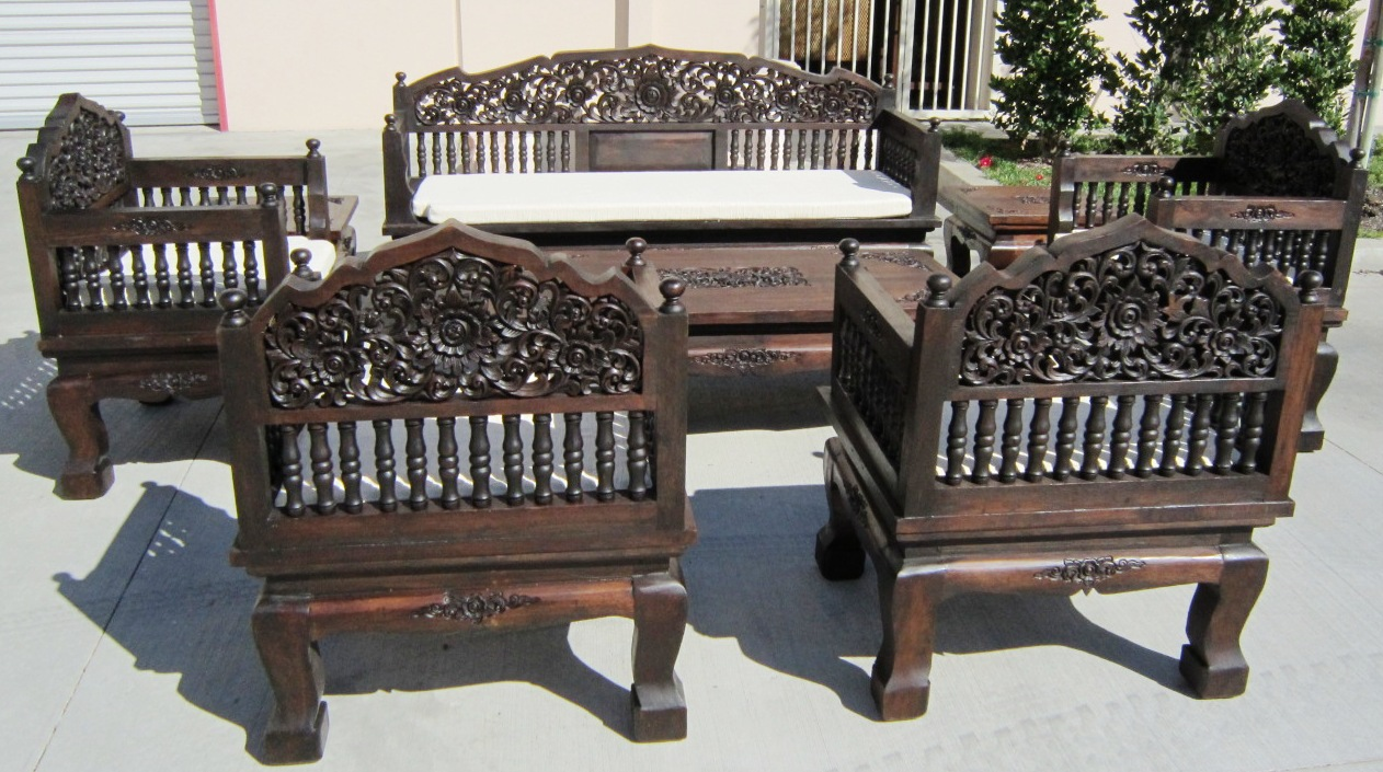 Hand Carved Set of 8 piece Teak Wood Living Room Set