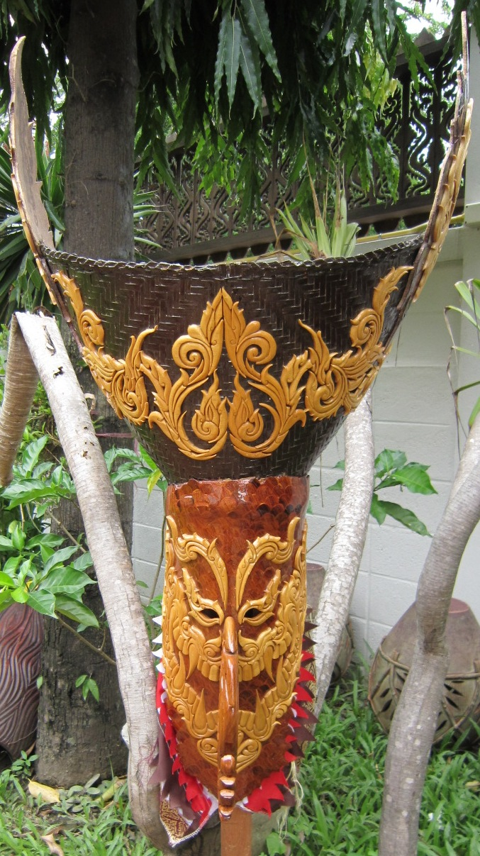 Phee Ta Khon Mask from Hand Carved Teak and Coconut
