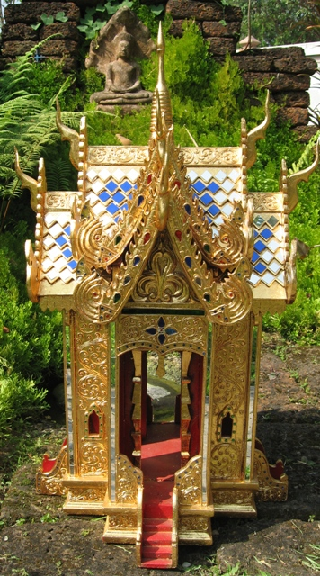 24kt Gold Leaf Teak Wood Thai Spirit House