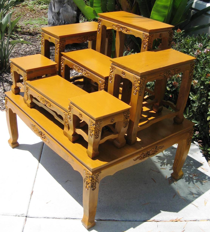 Buddhist Wedding Altar: Large Thai Buddhist Altar Table Set With Carved Legs