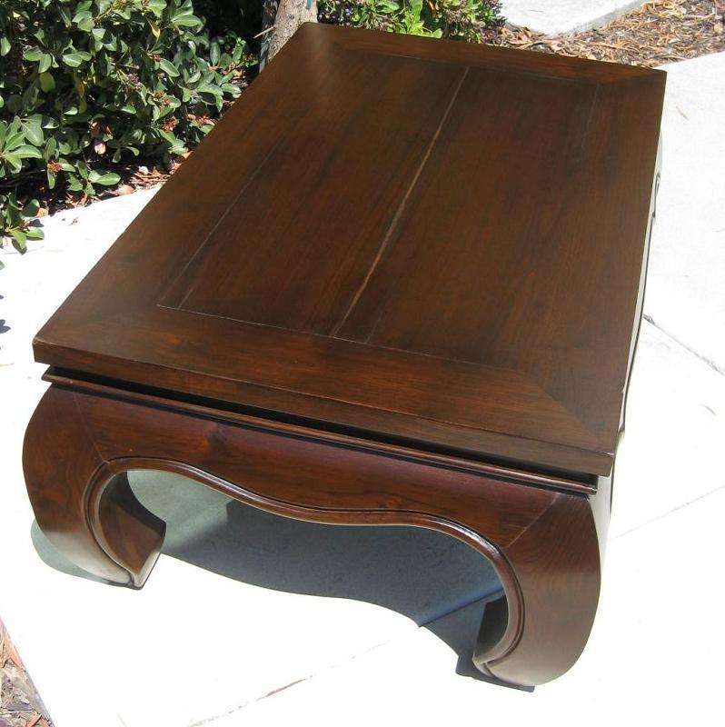Hand Carved Opium Legs Distressed Teak Wood Coffee Table