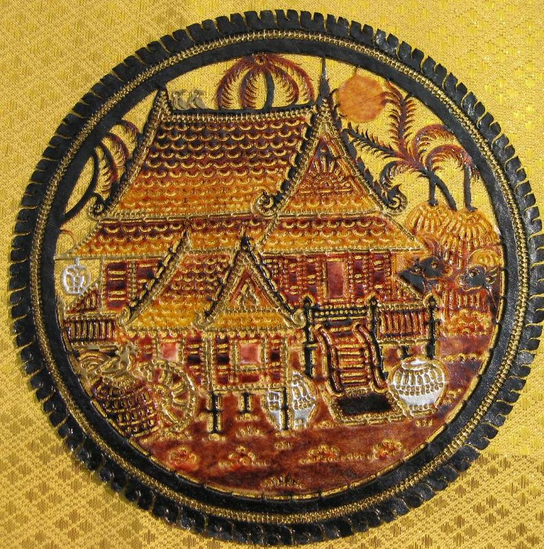 Hand Carved Leather Thai house