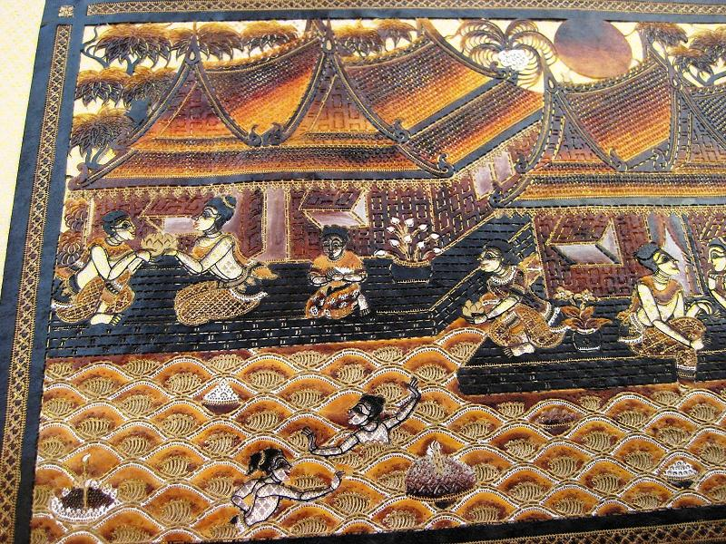 Hand carved ta lung leather thai village scene extra large
