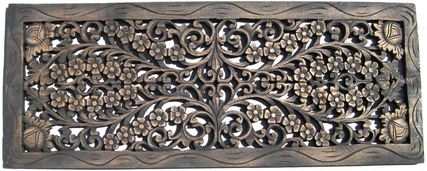 1'x3' Teak Panel Antique Finish - Teak Wood Panels/ Hand Carved Teak Wood Panels / Teak Panels
