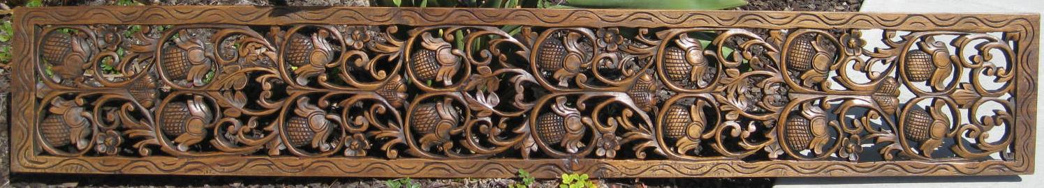 Teak Wood Panel 1ft x 6ft - Custom Hand Carved Teak Panel/Teak Wood Panels/Teak Wood Carvings