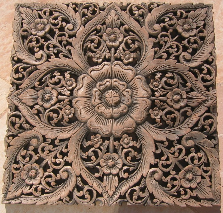 2'x2' Teak Wood Panel ... - Custom Hand Carved Teak Wood Panels/ Hand Carved Teak Wood Panels