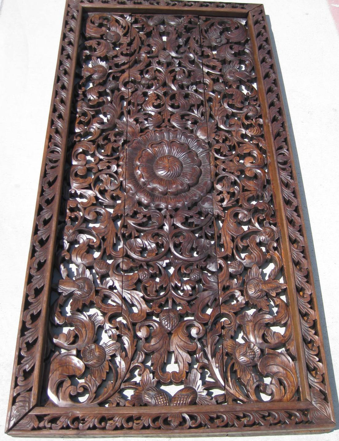 3'x6' Floral Teak Wood Panel ... - Teak Panel/Teak Wood Panels/Teak Wood Carvings/Herds Of Elephants