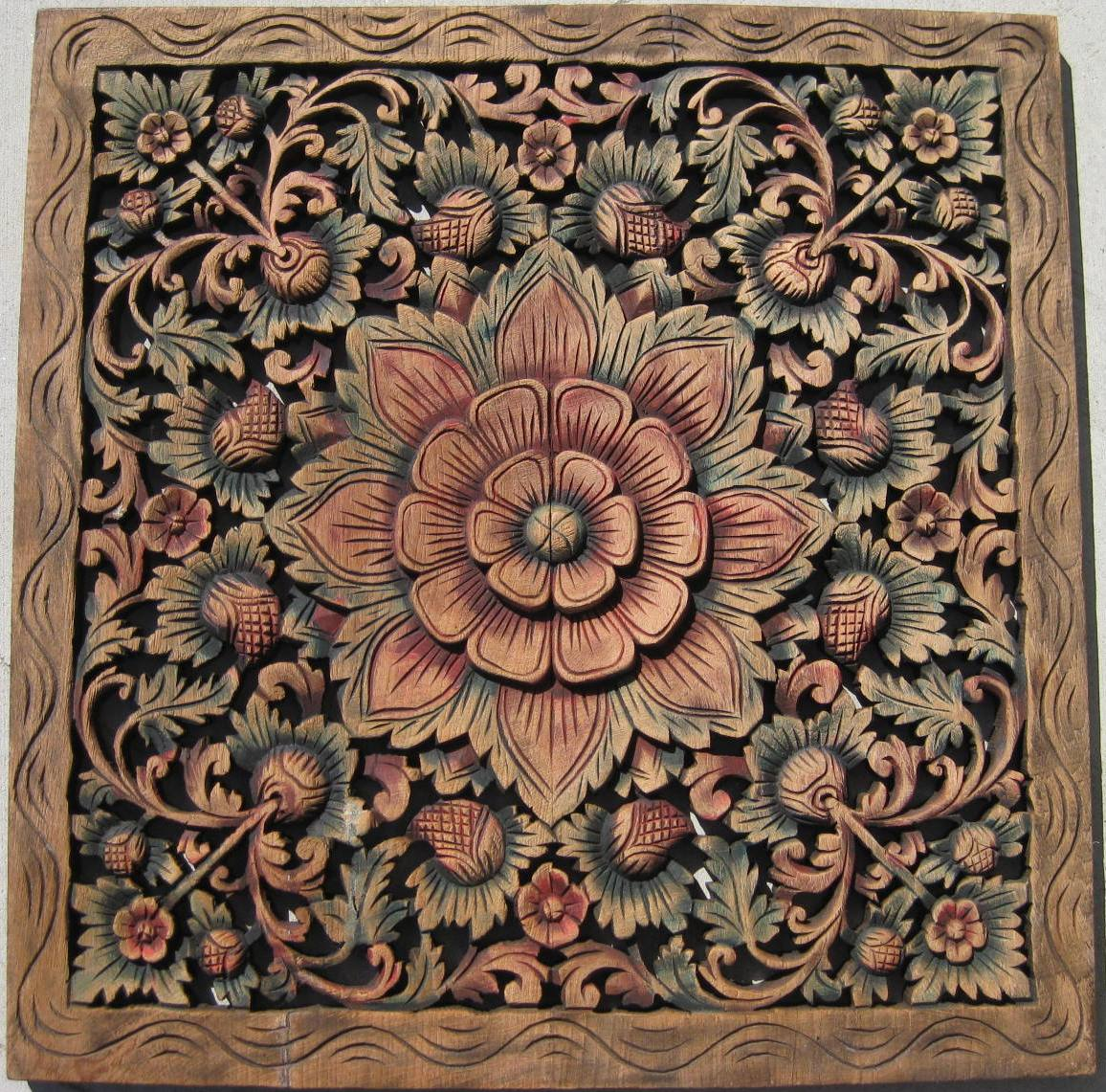 2'x2' Teak Wood Panel Java Finish ... - Custom Hand Carved Teak Wood Panels/ Hand Carved Teak Wood Panels