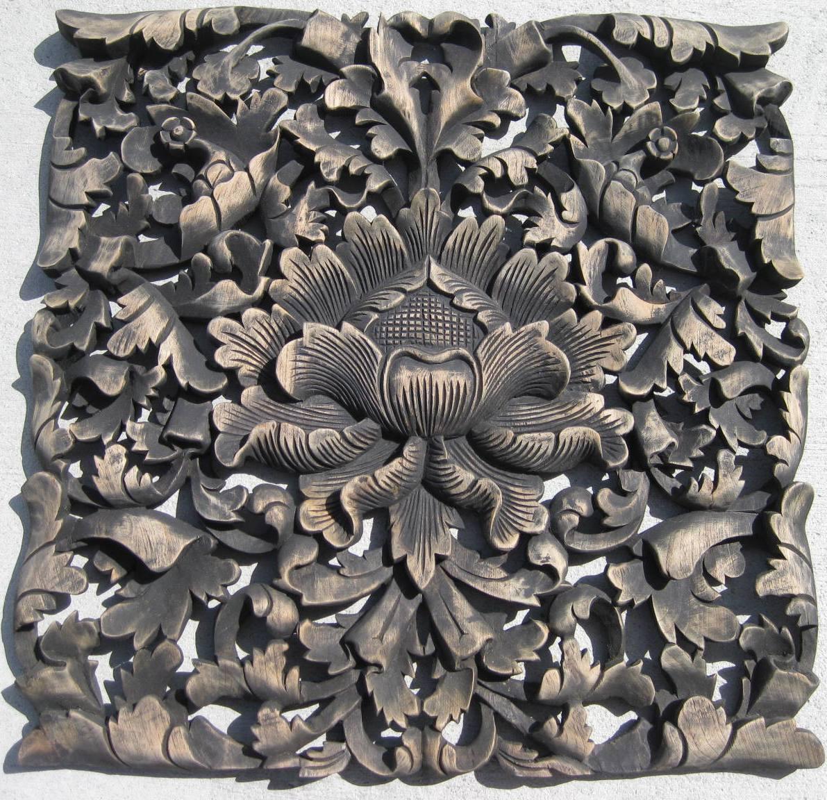 Ft hand carved teak wood panel