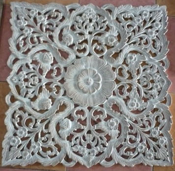 2' x 2' Myanmar Teak Panel White Washed