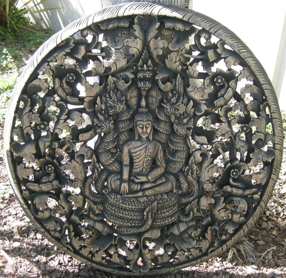 3ft Round Buddha on Naga Teak Panel