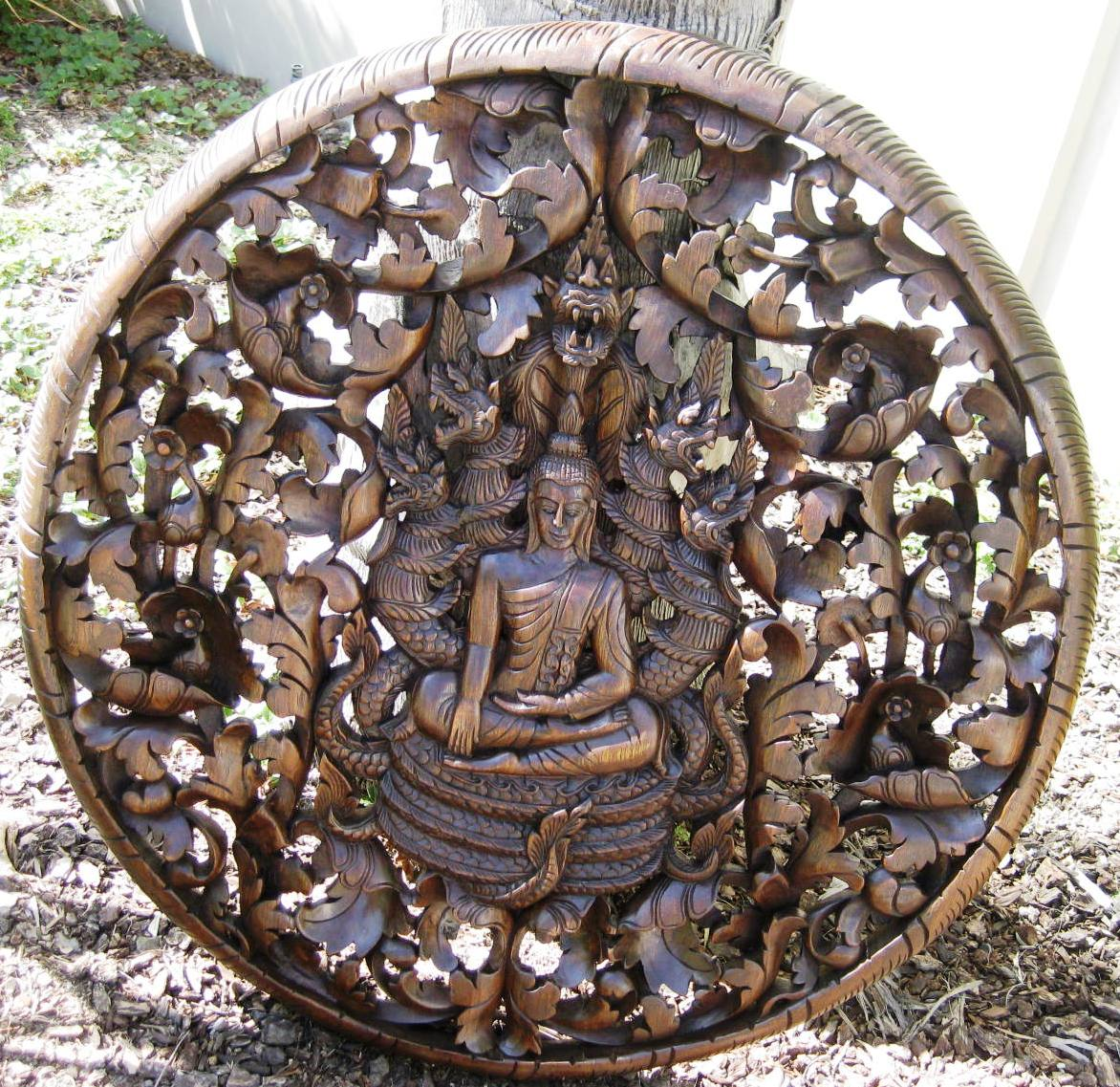 3ft Buddha in Bodhi Leaf Teak Panel Antique finish