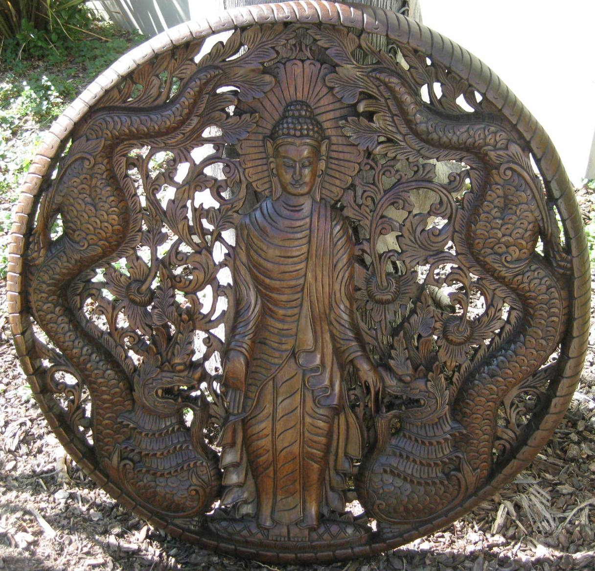 3ft Standing Buddha with Nagas Panel Oak Finish