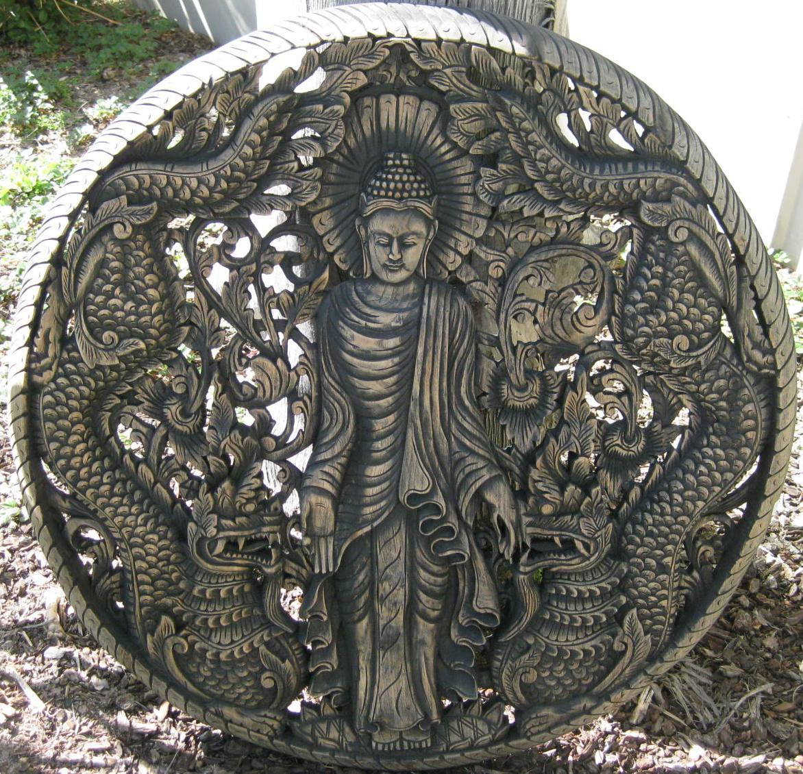 3ft Standing Buddha with Nagas Round Teak Panel Antique Finish