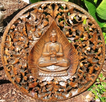 3ft Round Buddha in Bodhi Leaf Panel