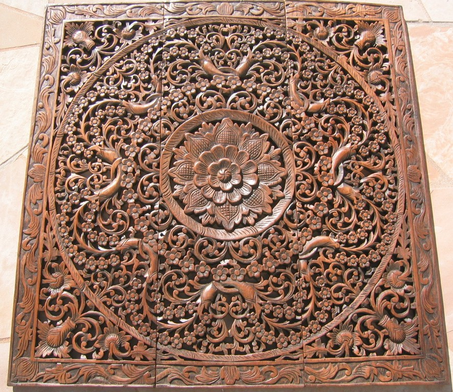 3'x3' Thai Teak Wood Panel - Hand Carved Teak Panel/Teak Wood Panels/Teak Wood Carvings