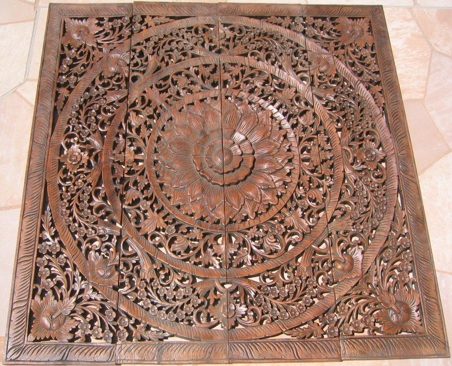 4'x4' Teak Wood Panel - Hand Carved Teak Panel/Teak Wood Panels/Teak Wood Carvings