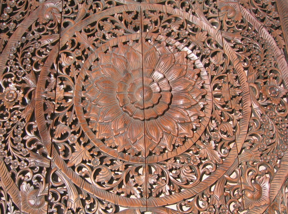 Hand carved four feet teak panel