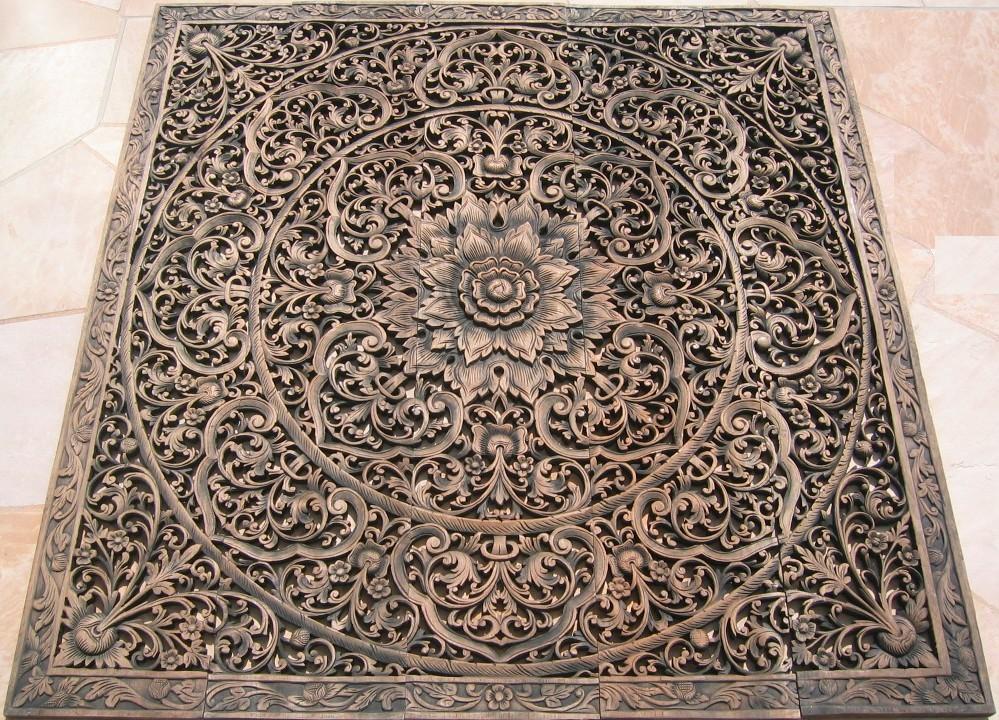 5'x5' Thai Teak Wood Panel ... - Teak Panel/Teak Wood Panels/Teak Wood Carvings/Herds Of Elephants
