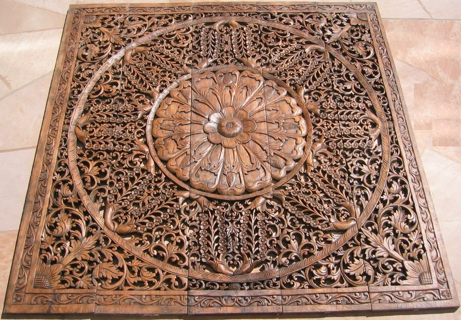 Teak panel wood panels carvings herds of
