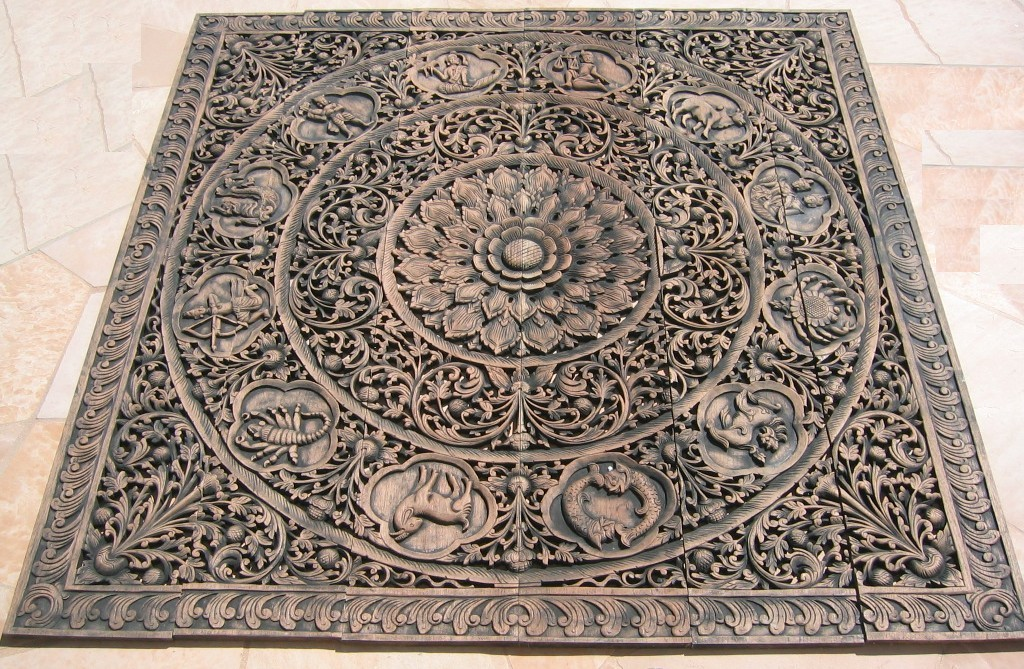 6'x6' Thai Zodiac Teak Wood Panel ... - Teak Panel/Teak Wood Panels/Teak Wood Carvings/Herds Of Elephants