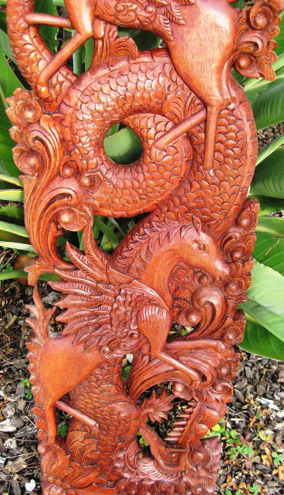 Hand Carved Dragon Panel from Bali