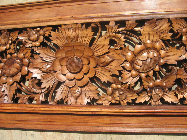 Hand carved floral wood panel