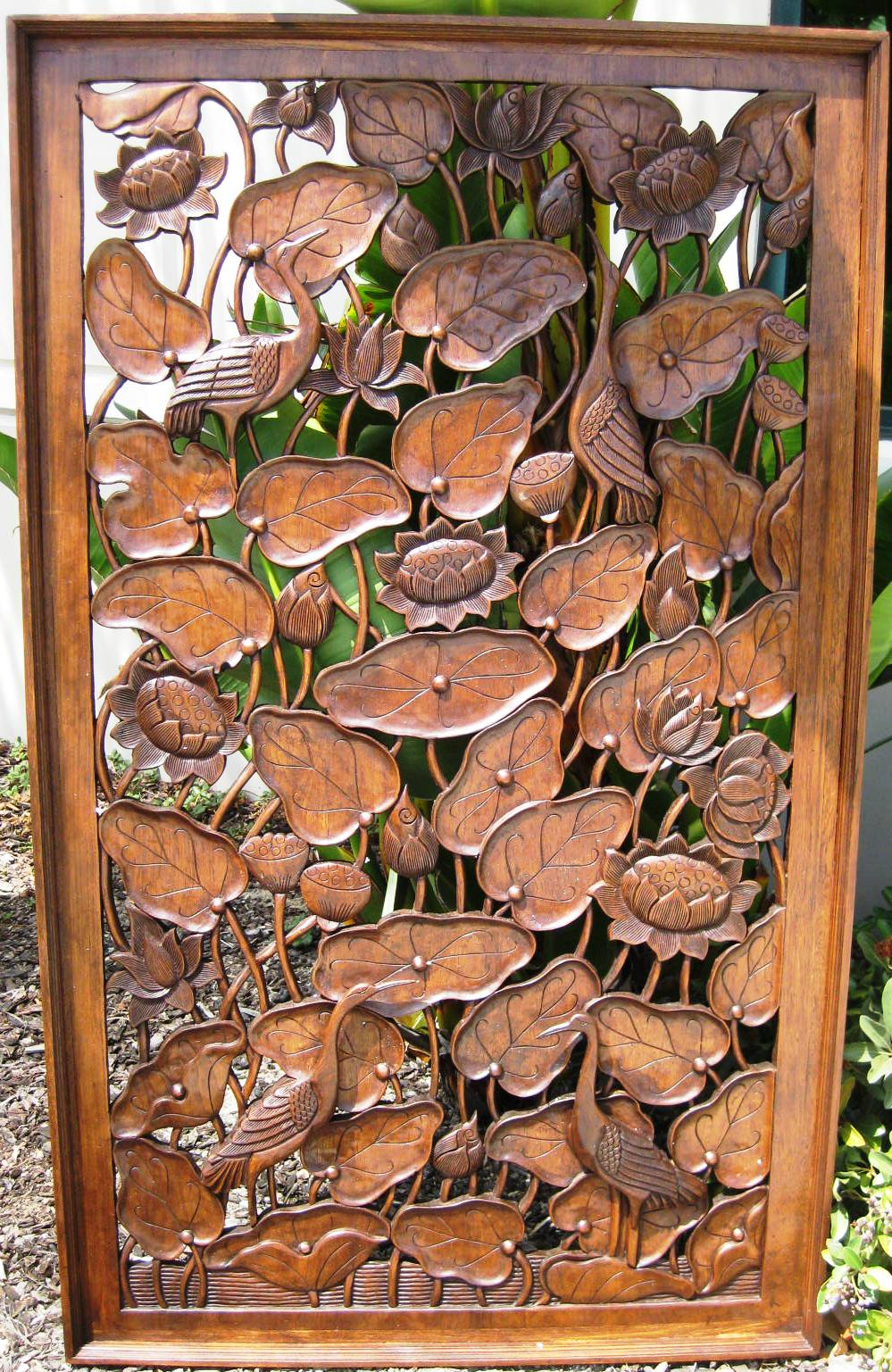 3ft x 5ft Lotus and Peacock Teak Panel