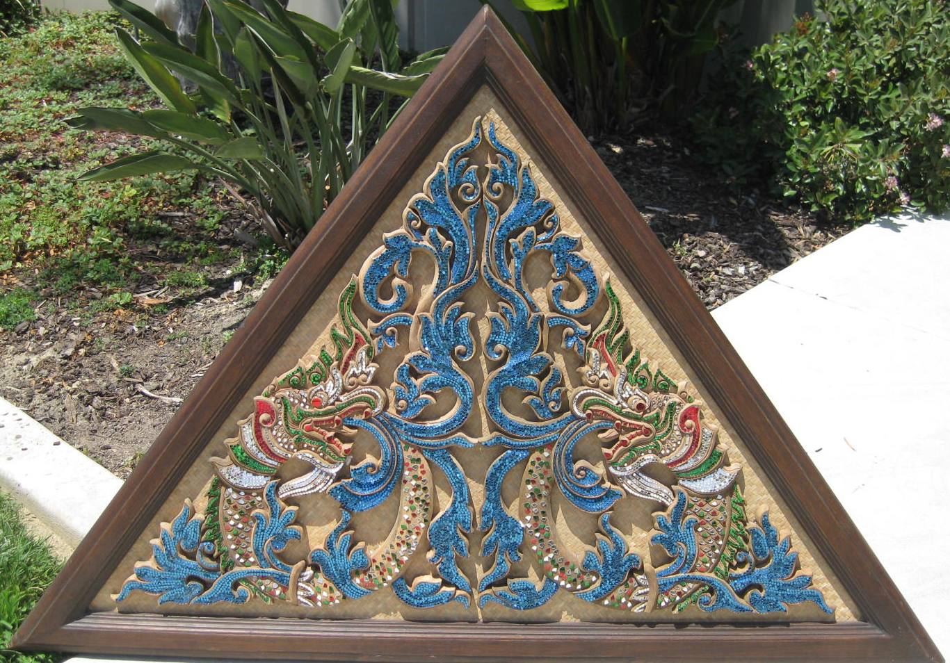 Triangular Naga & Decorative Glass Rattan Teak panel