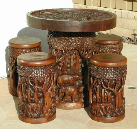 Hand Carved Teak Wood Living Room Set Furniture